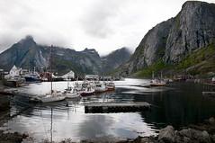 Hammoy. Lofoten Islands. Norway. (ibethmuttis) Tags: ibeth nikond300s boats water sea fjord sky clouds foggy mountains bay landscape hamnoy lofoten islands nordland norway village
