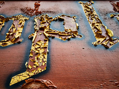 P-Ling (Doug.King) Tags: old peeling decaying paint colour color sign wood