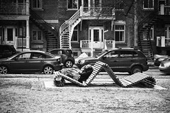 Relax (stephaneblaisphoto) Tags: relaxing architecture building exterior built structure car casual clothing child childhood city day full length land vehicle lifestyles men mode transportation motor one person outdoors real people moments social issues bw blackandwhite street