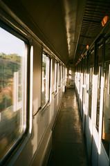 Train to Prague (zuziawie) Tags: minolta himatic g 35mm 35 analogue analog train sunshine sun travel journey windows