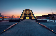 Docklands, Hamburg, Germany. (Matthias Dengler || www.snapshopped.com) Tags: matthias dengler snapshopped time blending artificial light sunset sunrise night evening blue hour landscape cityscape modern architecture explore travel create docklands north germany elbe harbour harbor illuminated illumination symmetry dawn twilight