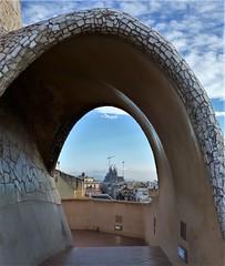 View from the roof of Casa Mila (xd_travel) Tags: spain barcelona nov2015 casamila gaudi lapedrera architecture modernism roof sagradafamilia