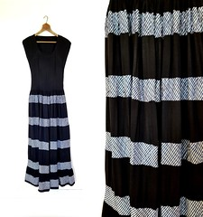 1940s Highland Fling crepe and plaid maxi dress (Small Earth Vintage) Tags: smallearthvintage vintageclothing vintagefashion dress 1940s 40s maxidress gown black blue plaid crepe