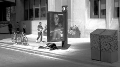 003 -1crpvib1stpfbw (citatus) Tags: homeless man sleeping corner yonge street bloor east toronto canada chanel advertisement ad summer afternoon 2018 pentax k3 ii bw