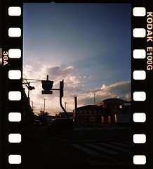 夕暮 Yuugure / Sunset (三dBoz) Tags: フィルムカメラ analog film reversal sunset sky road sign intersection japaneselandscape klassew ektachromee100g フィルム アナログ
