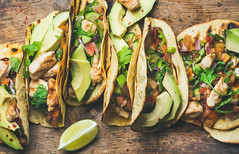 Tacos with grilled chicken, avocado, fresh salsa sauce and limes (Taco Shop Tyler) Tags: taco chicken meal mexican tortilla cuisine food topview avocado fresh salsa sauce lime grilled rustic wooden background healthy lowcarb lowfat lunch takeaway company buffet dinner spicy traditional corn table wrap delicious meat snack street cooked chili vegetable nobody latin tasty pepper burrito herb sliced citrus closeup horizontal flatbread parsley sandwich