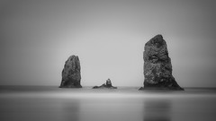 Sea Stacks (jwsmithphoto) Tags: seastacks oregon cannonbeach bw monochrome longexposure pacific ocean