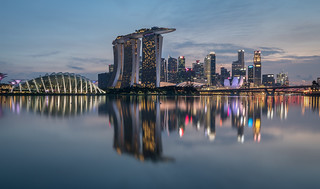 Singapore city skyline from gardens by the bay east