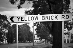 Benalla VIC (phunnyfotos) Tags: phunnyfotos australia victoria vic northeastvictoria benalla sign roadsign roadname streetname yellowbrickroad yellowbrickrd signs goodbyeyellowbrickroad blackwhite bw mono monotone nikon road street countrytown lettering font typography writing text