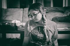 Some days... (flashfix) Tags: september052018 2018inphotos flashfix flashfixphotography ottawa ontario canada nikond7100 40mm selfportrait portrait monochrome blackandwhite solemn braid glasses