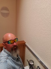 Bathroom Business (cjacobs53) Tags: jacobs jacobsusa oregon vacation clarence cj restroom bathroom bald goatee sun glass sunglasses