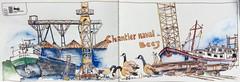 """Sortie USK Namur au chantier naval de Beez (Namur) (alainhonoratlefebvre dit """" ALHO """") Tags: chantier naval encre aquarelle namur grues bateaux"""