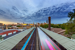 The Return of the Autumn Sky (Señor Codo) Tags: cloudy chicago train partlycloudy downtownchicago illinois chicagoskyline publictransit architecture nighttime