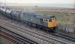Falkland 27059 leaves on tanks early 80's c722 (Ernies Railway Archive) Tags: ayr falklandyard gswr lms scotrail