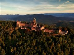 Haut-Koenigsbourg au drone (Ma Poupoule) Tags: alsace hautrhin chateau chateaufort drone forêt vosges leverdesoleil leverdujour france castel