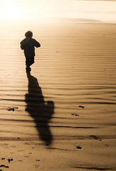 Run to the Sun (swingking85) Tags: 2yearsold toddler beach sunset rossnowlagh donegal sand shadow silhouette form ireland