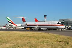 OY-RUT at Heathrow (Sierra Bravo Photographic) Tags: sk501 sas danishairtransport md82 heathrow nikon d3200 holding stand oyrut