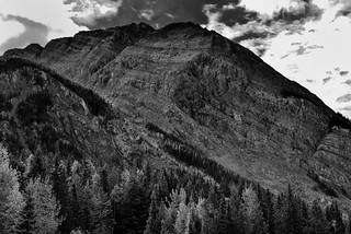 Layers of Rock with Striations on Mount Dennis (Black & White, Yoho National Park)