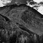Layers of Rock with Striations on Mount Dennis (Black & White, Yoho National Park) thumbnail