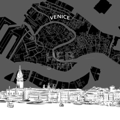 [Maps and Sketches] Venice skyline with map (Hebstreits) Tags: architecture areal background black building business city cityscape cruise design destination detailed drawing drawn grandcanal hand illustration italy landmark line map nightlife outline panorama pencil piazza plan poster region road roof sanmarco sestieri sights silhouette sketch skyline skylinewithmap style top tourism tower travel urban vector veneto venezia venice white