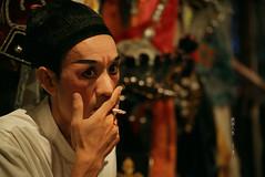 煙 inhale (Chez C.) Tags: chineseopera 戲班 performance backstage culture chineseculture hongkong 香港 盂蘭節 神功戲 演員 performers artists