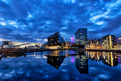 Canning Dock (gmorriswk) Tags: liverpool albert dock museum long exposure blue hour clouds night shot nightshot landscape waterscape canning reflection reflections