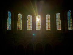 Sunrise through Stained Glass (laurenspies) Tags: clignancourt montmartre îledefrance france europe paris fr sunrise stainedglass basilica sacrécœur sacrécœurbasilica sacrecoeur windows basilicaofthesacredheartofparis