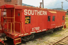 Southern X782 on the GSMR (Railroad Gal) Tags: southernrailway southernservesthesouth soux782 greatsmokymountainsrailroad greatsmokymountains gsmr caboose red ashevillechapternrhs wataugavalleyrhsm trainexcursion passengertrain carhost railroadtracks railfan railfanning femalerailfan trainphotography mountains landscape summer brysoncitync northcarolina history