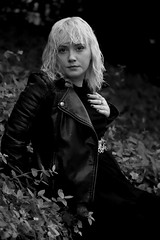 Alexa 102 Mono (TheseusPhoto) Tags: monochrome blackandwhite bnw monotone portrait portraiture model modeling woman female girl leatherjacket fashion beautiful pretty noir blonde nature black