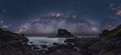 Milky way over Keyhole Rock at Anawhata (tomoyaosa) Tags: milkyway astrophotography astroscape beach anawhata auckland newzealand nz landscape longexposure d750 samyang24mm astro nightscape nikon panorama