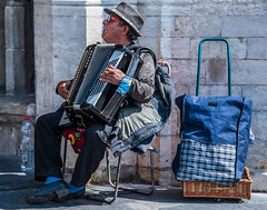 2018 - Belgium - Gent - Street People - 3 of 6 (Ted's photos - For Me & You) Tags: 2018 belgium cropped ghent nikon nikond750 nikonfx tedmcgrath tedsphotos vignetting hohner hohneraccordian accordian musician glasses sunglasses playing entertainer bottle onebottle ghentbelgium