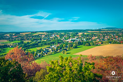 Hrádek, view of the city (PeterFineart) Tags: lookout country view tower town city sky skyporn skyline cityscape cityview summer sunny trees landscape landmark green grass clouds peace