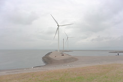 Turbine, N57, Holland (Richard:Fraser) Tags: turbine n57 holland wind nature man made landscape minimal grass cloud grey day sky cycling