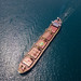 Tanker transporting oil across the Bosphorus. Aerial photo