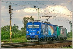 91-81-0-480-029-0 (Zoly060-DA) Tags: romania softronic works craiova co 6 axle electric locomotive 6000 kw private freight operator lte class 480 number 029 storm trees grass blue green white grey karman todor light engines rails rail railway lines plough pantograph led new