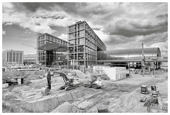 Building Berlin (awbaganz) Tags: berlin germany architecture building hauptbahnhof station bwphotography fujifilm xpro2 xf1024 wide wideangle europe pit construction constructionsite sky monochrom bw clouds expressive