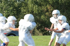 _G1A0019 (bubbaonthenet) Tags: 09082018 game 1 stma community education 6th grade youth tackle football team white verses 2 blue saint michael minnesota 2018 middle school sport sports fall