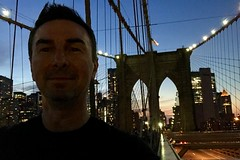 An evening walk on the #BrooklynBridge (Σταύρος) Tags: thebigapple suspensionbridge sunset mapmywalk stavros newyork exercise walking onthebridge brooklynbridge 1875 greek man me ich yo moi fortunate prosperous portrait σταύροσ