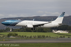 VP-CKK Boeing 737-900ER BBJ3 National Air Services Glasgow airport EGPF 20.08-18 (rjonsen) Tags: plane airplane aircraft aviaion business jet flying corporate landing airside runway