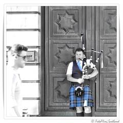 Blowing hard to attract attention (FotoFling Scotland) Tags: edinburgh bagpipe blow kilt piper tartan fotoflingscotland