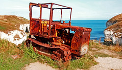 Track-tor (wontolla1 (Septuagenarian)) Tags: yorkshire flamborough head north landing track tractor caterpillar tracked dozer bulldozer fishing boat rusty rusted old abandoned busted rotted seaside beach salt trackmarshall challenger perkins diesel 1950s crusty rotting red rustyandcrusty epm1 olympus microfourthirds