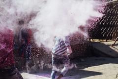 Burst of Pink Gulal, Vrindavan India (AdamCohn) Tags: abeer adamcohn bankebiharimandir hindu india shribankeybiharimandir vrindavan gulal holi pilgrim pilgrimage अबीर गुलाल होली
