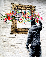 Blackpool urban art (Tony Worrall) Tags: streetart street artist arty artwork art graffitimuralarchive graffiti photograff graff walls painting painter painted man urbanart urban daub color framed frame drawn draw drawing stencil northwest north fun sell sale stock item buy made make outdoors outside vandal
