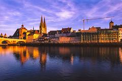 Regensburg in the evening (CsiziPhoto) Tags: hoya81bfilter fujichromevelvia50 nikkoraf24mmf28 nikonf75