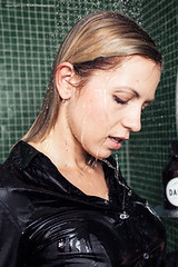 Jenni takes a shower (Wet and Messy Photography) Tags: wetlook wet wethair wetandmessy wetclothes shower clothed woman soaked jenni