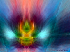In the middle (CaBAsk ♥Thank U for visiting ♥) Tags: abstract art olympus digital manipulation photoshop expression surreal wings centerpoint colours bright blue flames imagination fantasy blur macro lines fire energy geometry