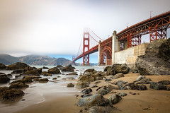 golden gate (#simon) Tags: nebbia foggy nuvoloso nuvole cloudy lungaesposizione longexposure bay cityscape city usa america sanfrancisco sea mare seascape landscape panorama panoramica rocce rocks brige ponte goldengate sabbia sand colorfull colori
