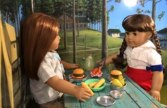 Lunch time (Foxy Belle) Tags: molly american girl doll historic character camp diorama scenes settings braids uniform summer food lunch picnic table cardboard craft ooak emily bennett friends meal ag 18 inch wwii 14 scale