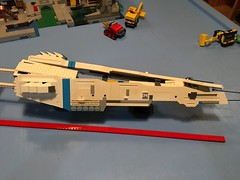 LEGO - SHIPtember 2018 - WIP - much happier with this look. Just have to remake one side as I came up with a better way when I made the second side. Thank you to everyone for the favs and comments. Comments, critiques and suggestions are always welcome. (k9iug) Tags: legospace homeworld legohomeworld legoshiptember shiptember shiptember2018