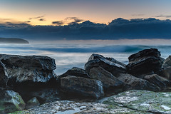 Rocky Sunrise Seascape (Merrillie) Tags: daybreak sunrise cloudy australia nsw centralcoast clouds sea newsouthwales rocks earlymorning morning water landscape ocean nature sky waterscape coastal seascape outdoors killcarebeach dawn coast killcare waves